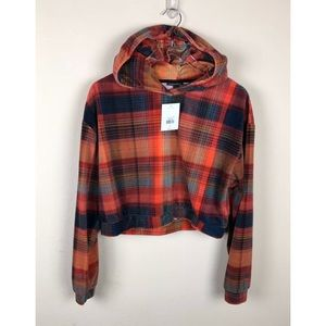 NEW Top Shop Velour Crop Top Checkered Hoodie